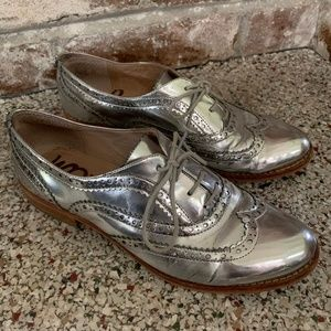 Sam Edelman Silver Lace Up Loafers Size 38